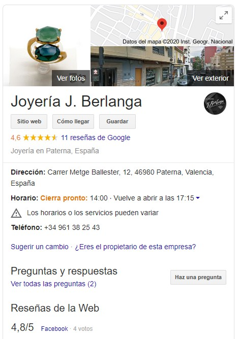 Ficha resumen de Joyería J. Berlanga - Paterna en Google Business